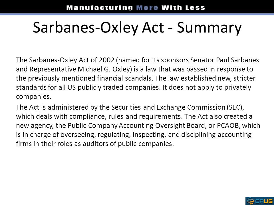 Sarbanes-Oxley Act - Summary