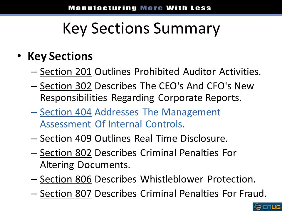 Key Sections Summary Key Sections
