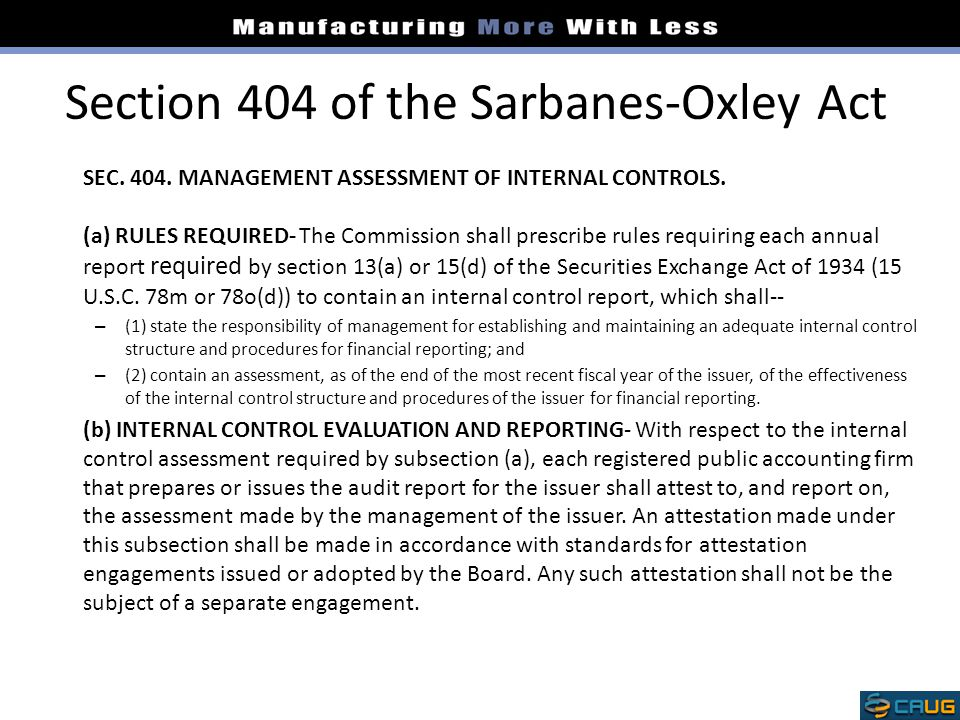Section 404 of the Sarbanes-Oxley Act
