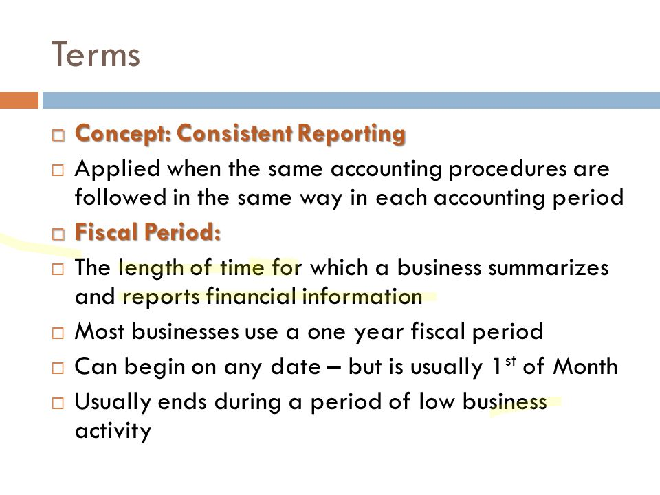Terms Concept: Consistent Reporting