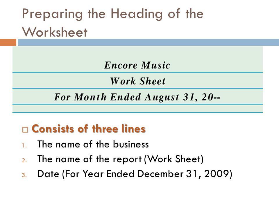 Preparing the Heading of the Worksheet