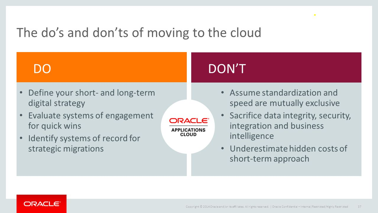 The do's and don'ts of moving to the cloud