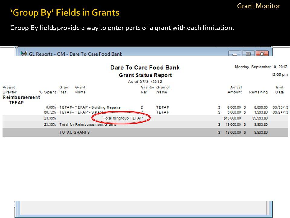 'Group By' Fields in Grants