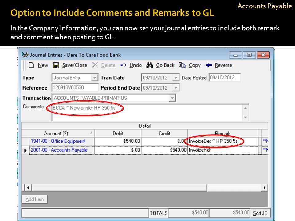 Option to Include Comments and Remarks to GL