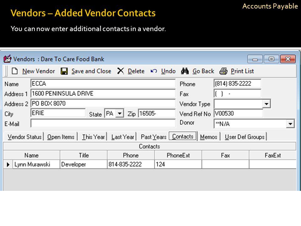 Vendors – Added Vendor Contacts