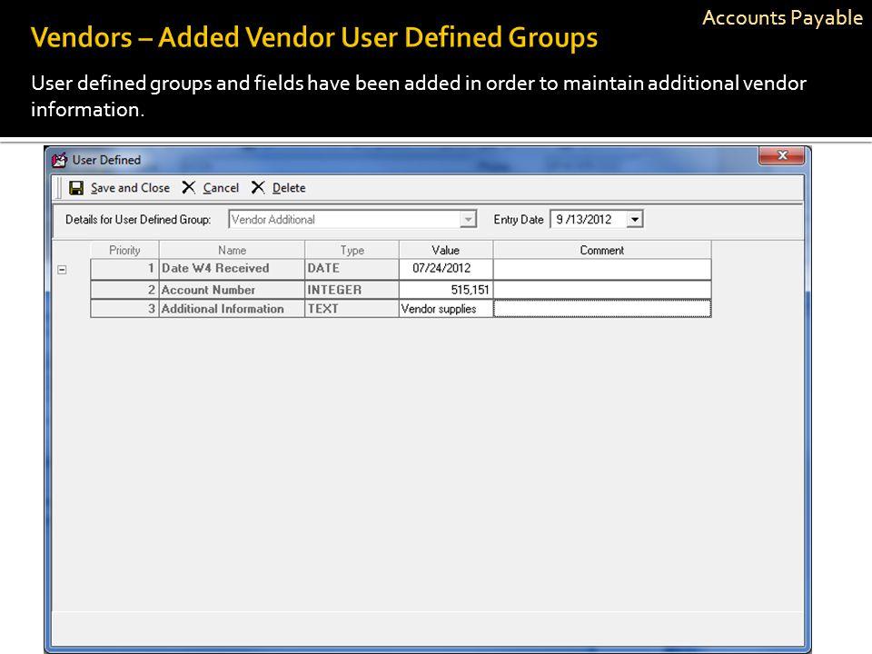 Vendors – Added Vendor User Defined Groups