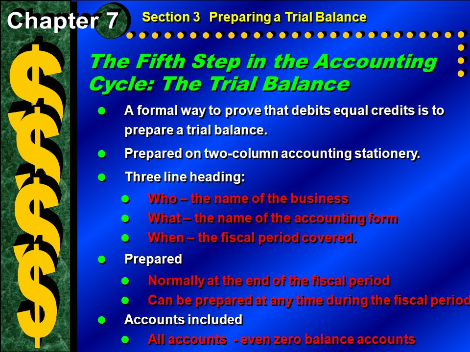 $ $ $ $ The Fifth Step in the Accounting Cycle: The Trial Balance