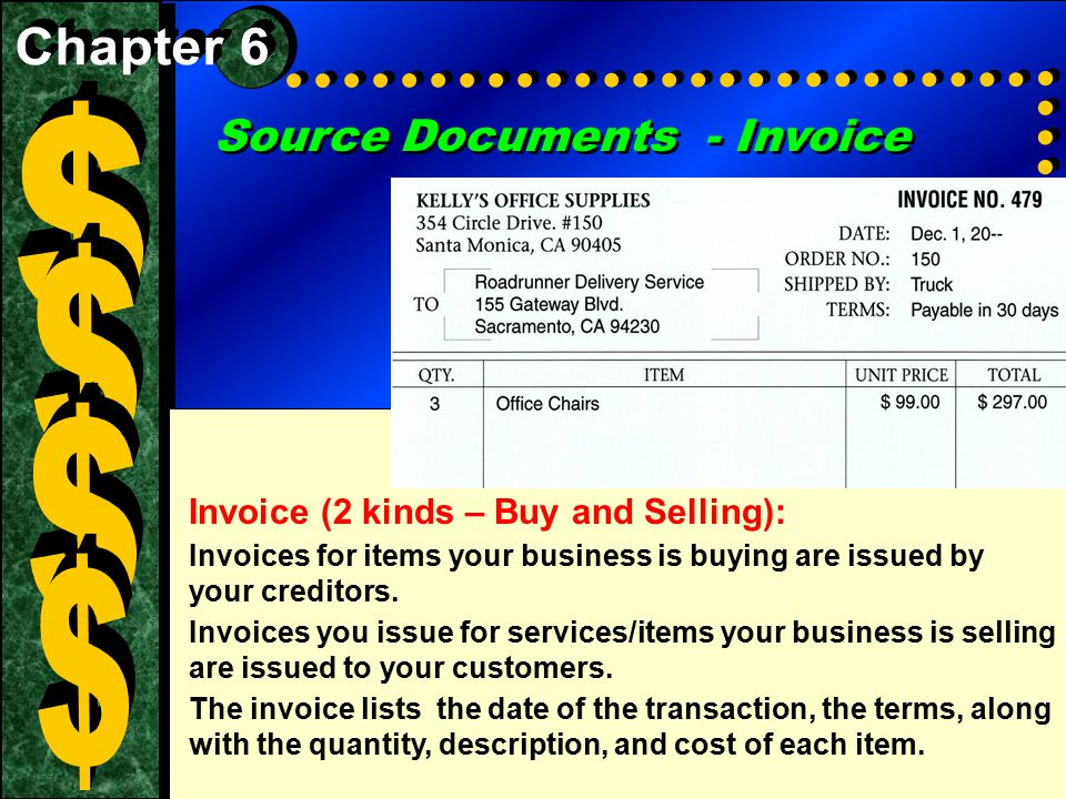 $ $ $ $ Source Documents - Invoice Chapter 6