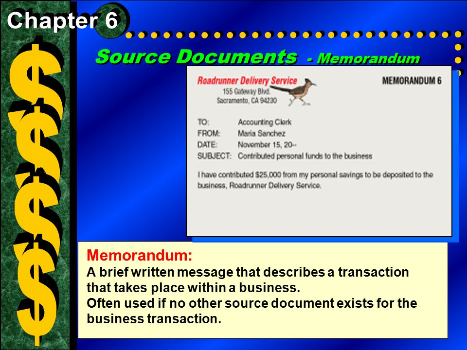 $ $ $ $ Source Documents - Memorandum Chapter 6 Memorandum: