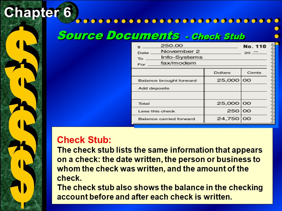 $ $ $ $ Source Documents - Check Stub Chapter 6 Check Stub: