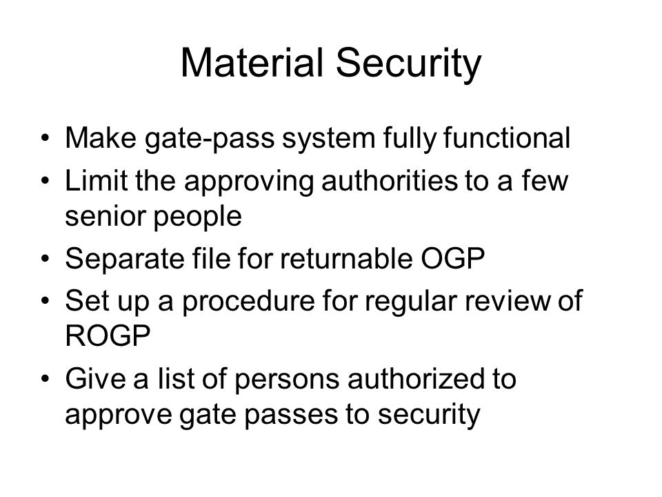 Material Security Make gate-pass system fully functional