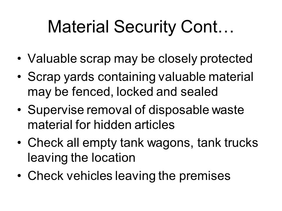 Material Security Cont…
