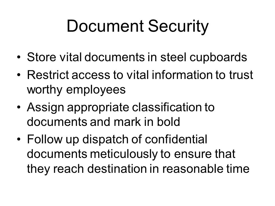 Document Security Store vital documents in steel cupboards
