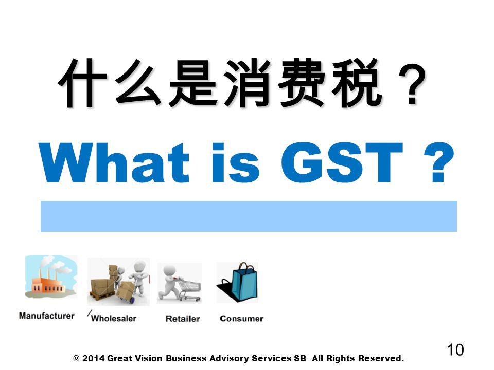 什么是消费税? What is GST © 2014 Great Vision Business Advisory Services SB All Rights Reserved.