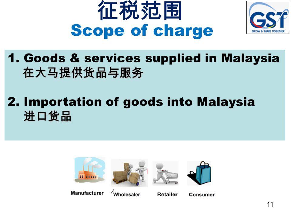 征税范围 Scope of charge. 1. Goods & services supplied in Malaysia 在大马提供货品与服务. 2. Importation of goods into Malaysia 进口货品.