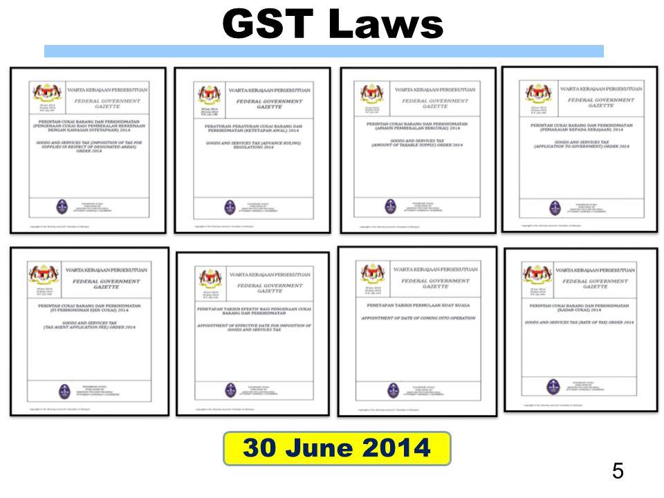 GST Laws 30 June 2014