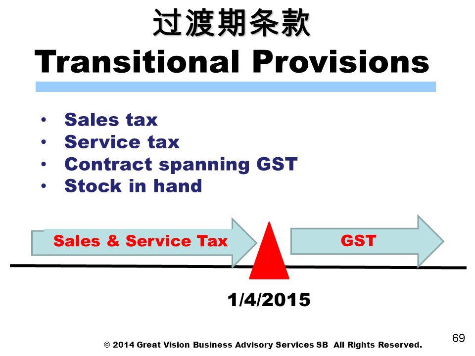 过渡期条款 Transitional Provisions