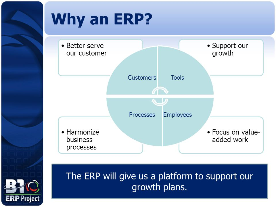 The ERP will give us a platform to support our growth plans.