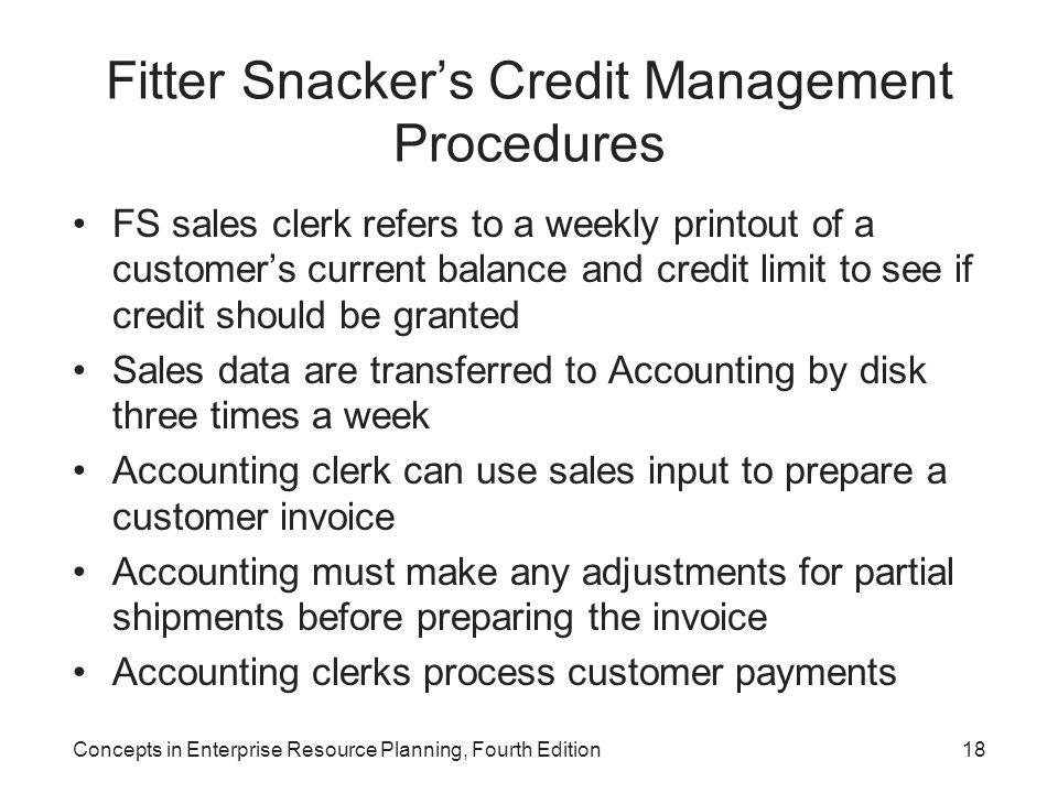 Fitter Snacker's Credit Management Procedures