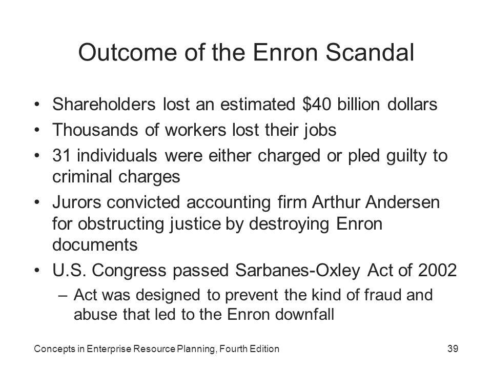 Outcome of the Enron Scandal