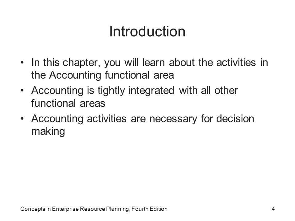Introduction In this chapter, you will learn about the activities in the Accounting functional area.