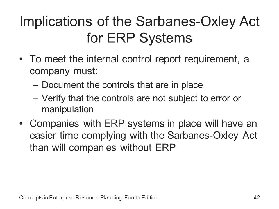 Implications of the Sarbanes-Oxley Act for ERP Systems