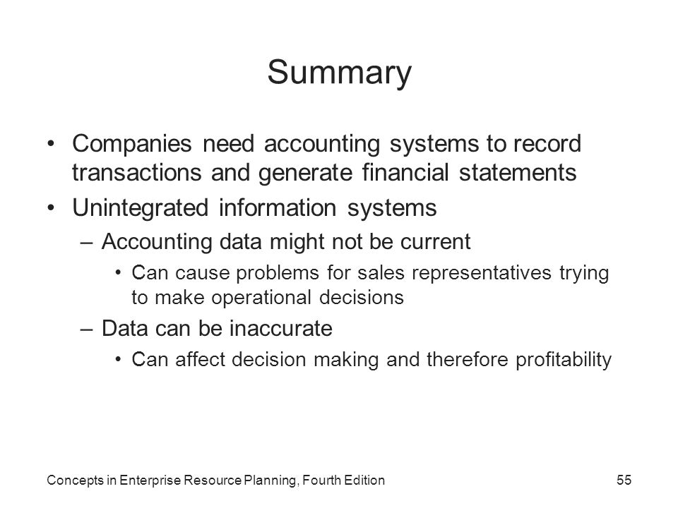 Summary Companies need accounting systems to record transactions and generate financial statements.
