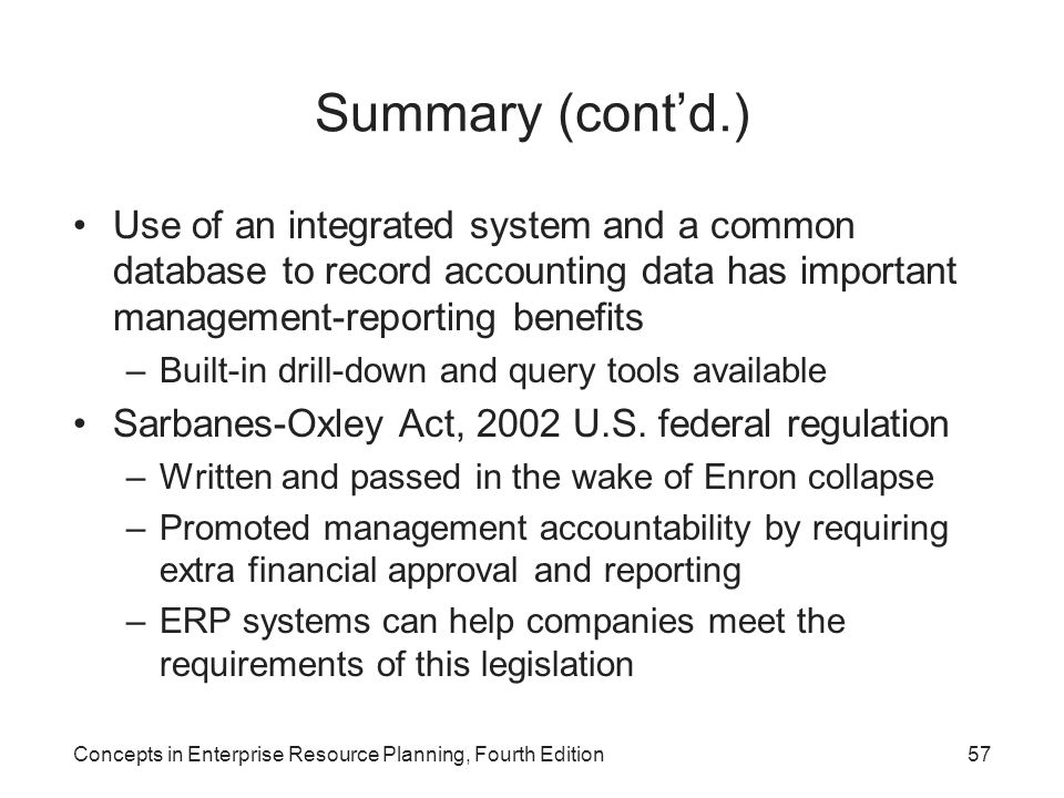 Summary (cont'd.) Use of an integrated system and a common database to record accounting data has important management-reporting benefits.