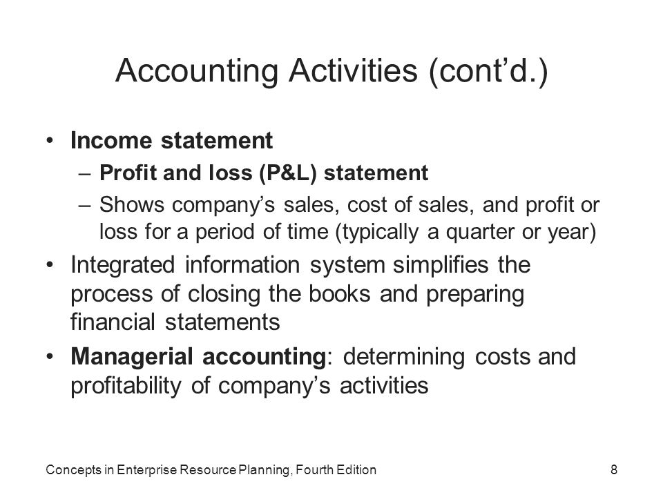 Accounting Activities (cont'd.)