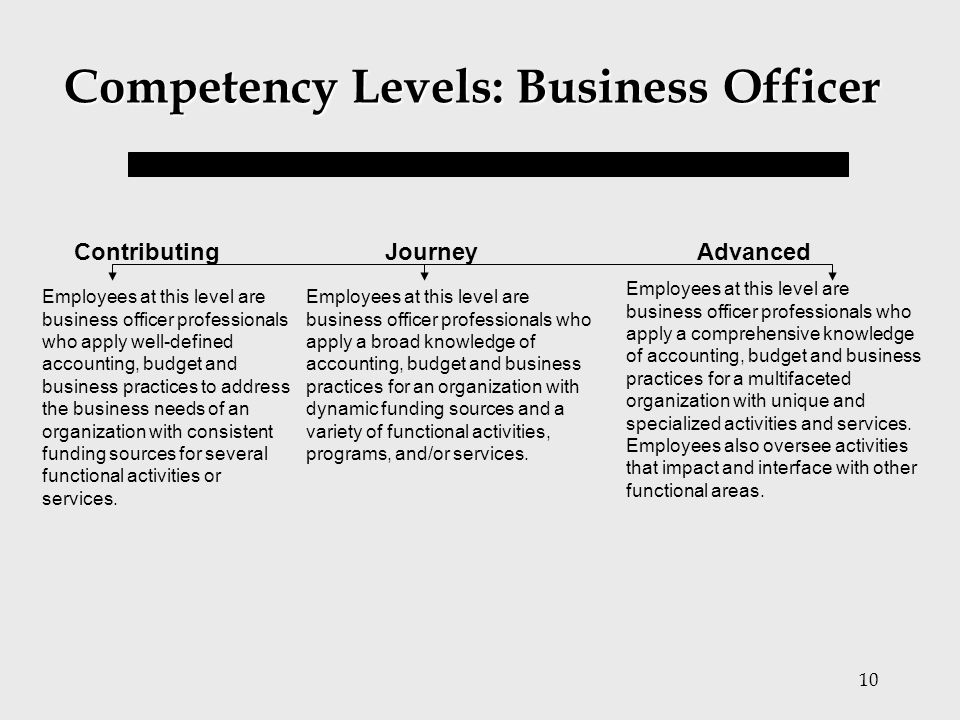 Competency Levels: Business Officer