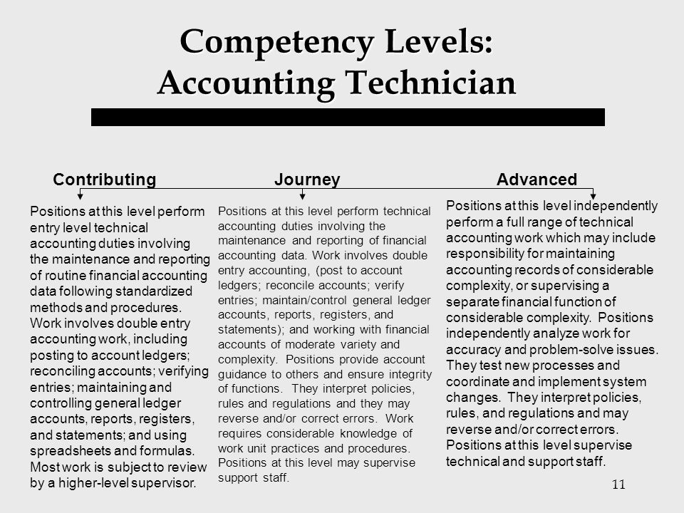 Competency Levels: Accounting Technician