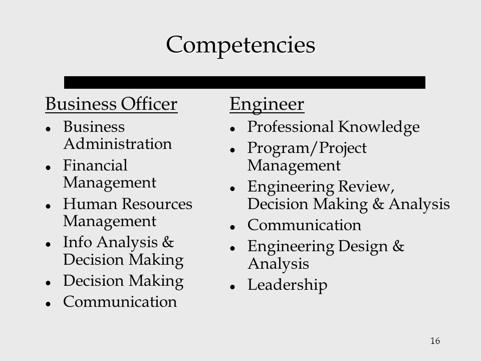 Competencies Business Officer Engineer Business Administration