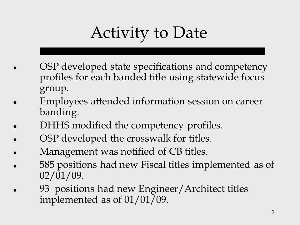 Activity to Date OSP developed state specifications and competency profiles for each banded title using statewide focus group.