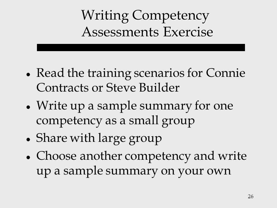 Writing Competency Assessments Exercise