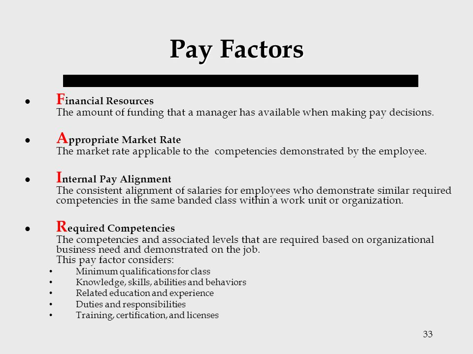 Pay Factors Financial Resources The amount of funding that a manager has available when making pay decisions.