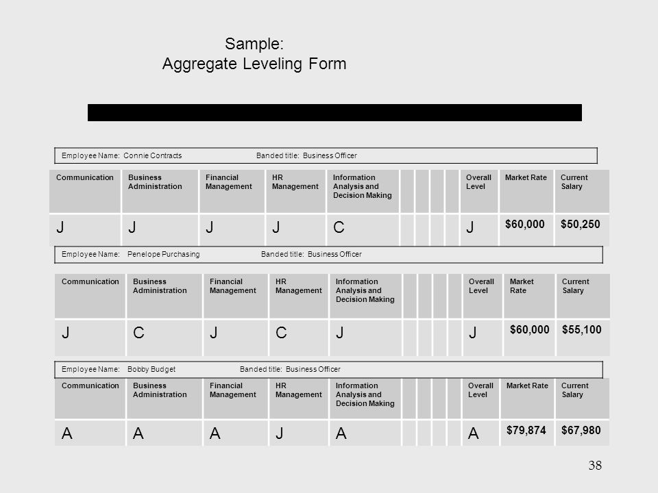 Aggregate Leveling Form