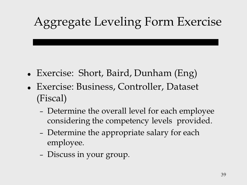 Aggregate Leveling Form Exercise