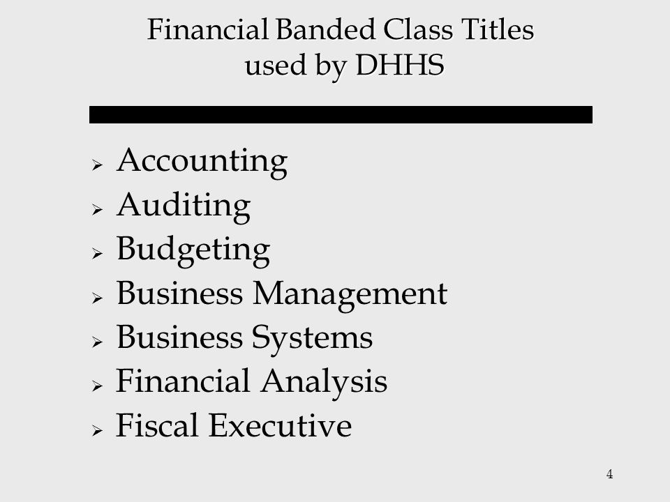 Financial Banded Class Titles used by DHHS