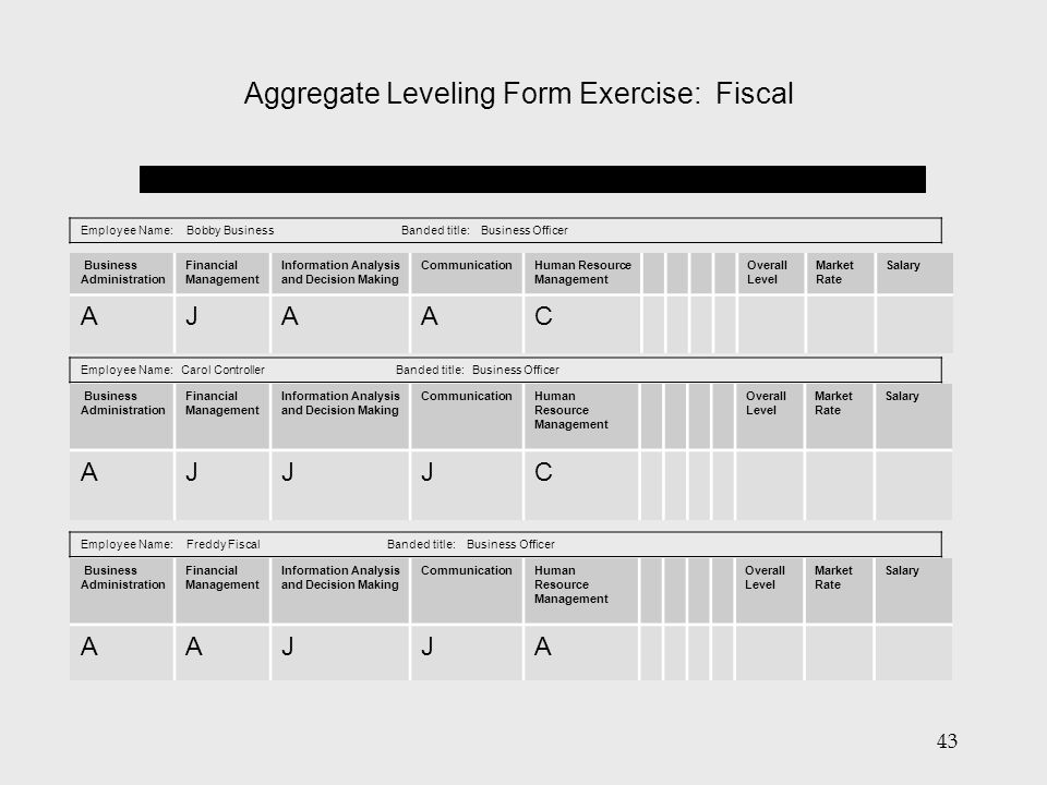 Aggregate Leveling Form Exercise: Fiscal