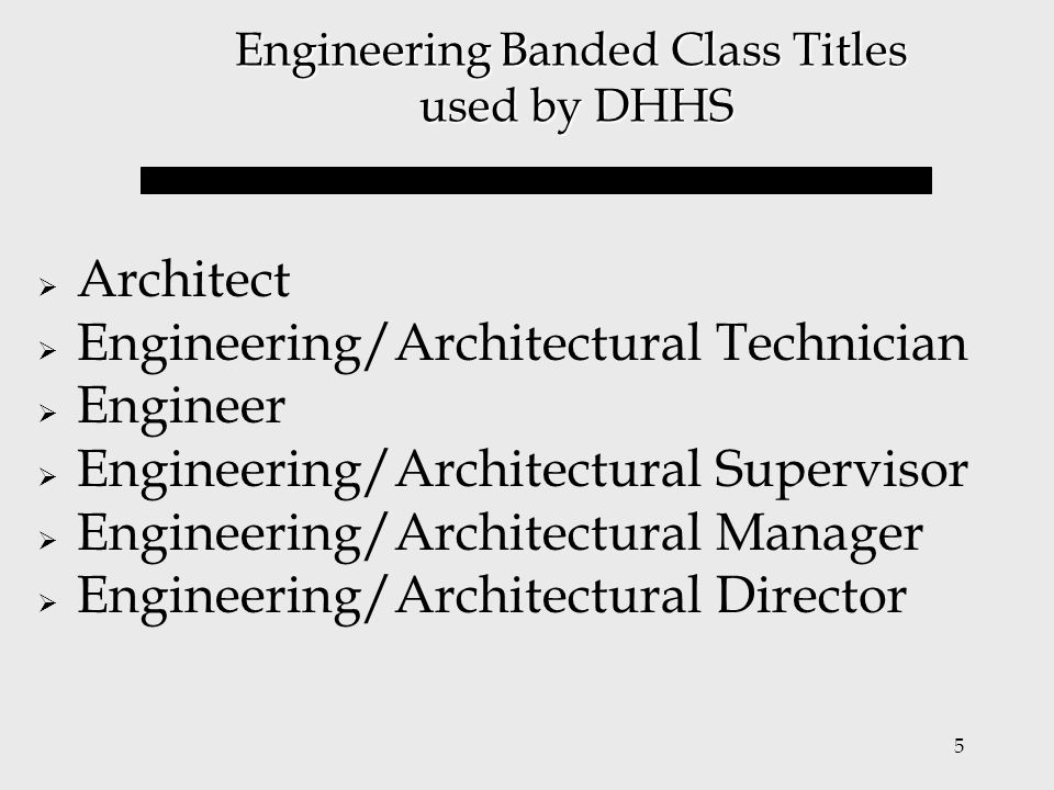 Engineering Banded Class Titles used by DHHS