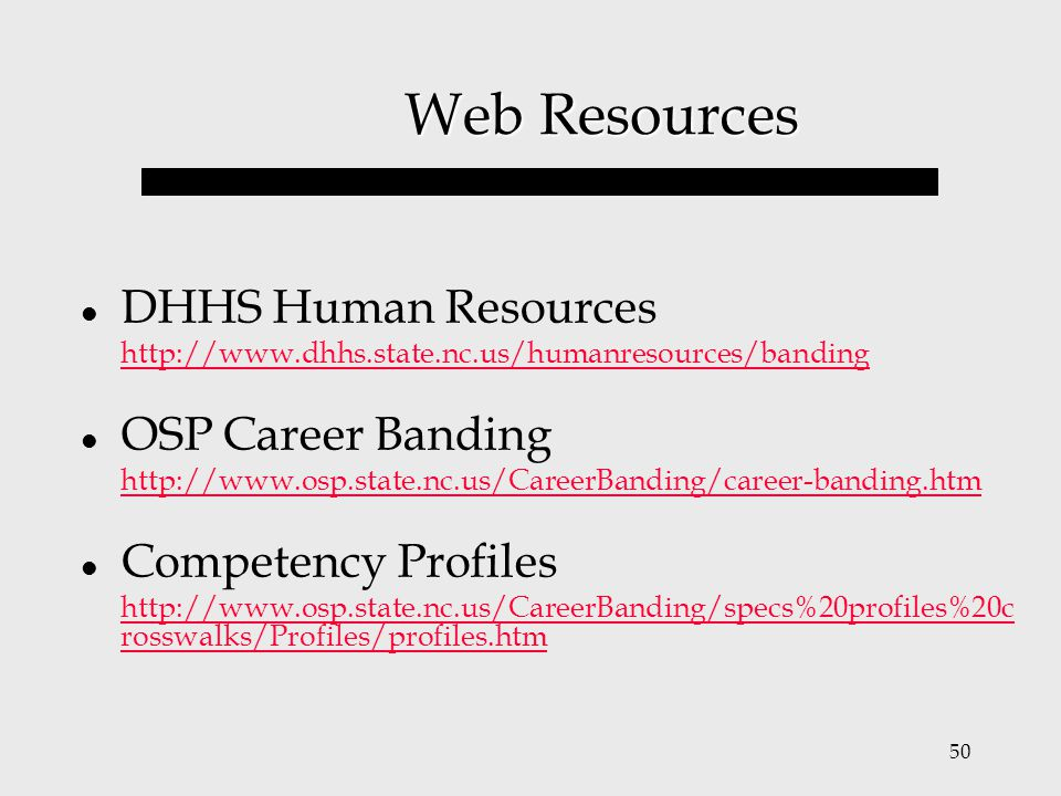 Web Resources DHHS Human Resources OSP Career Banding