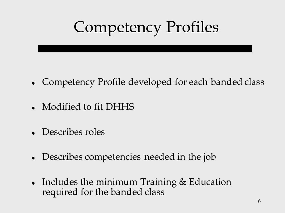 Competency Profiles Competency Profile developed for each banded class