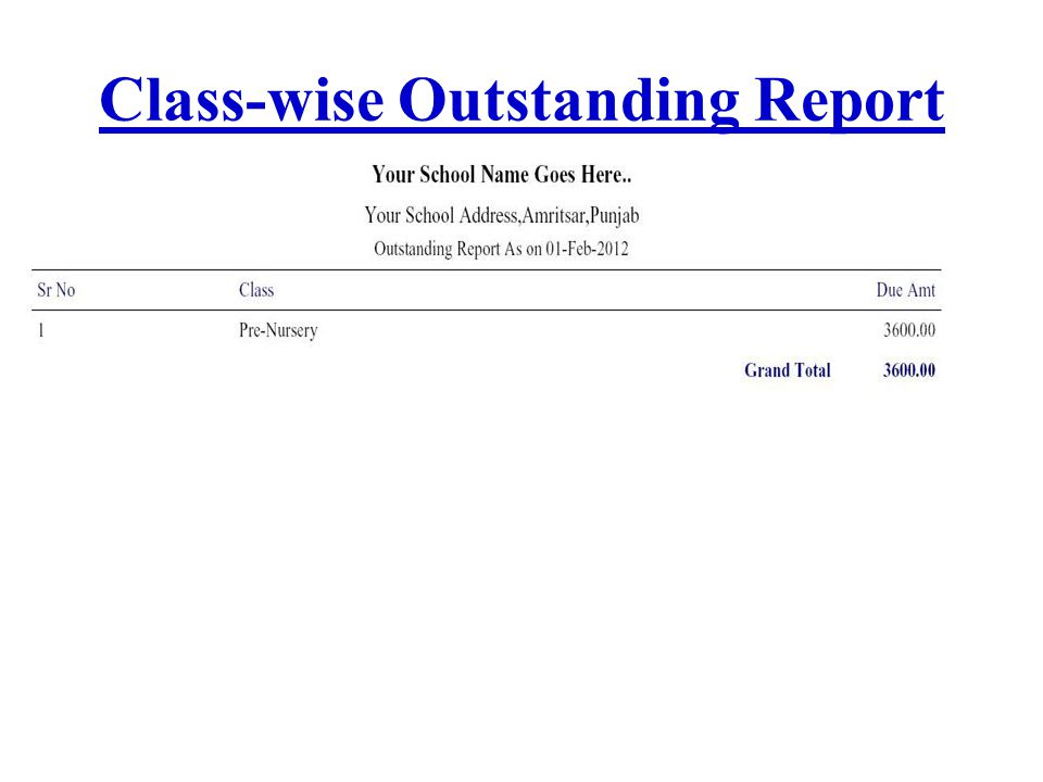 Class-wise Outstanding Report