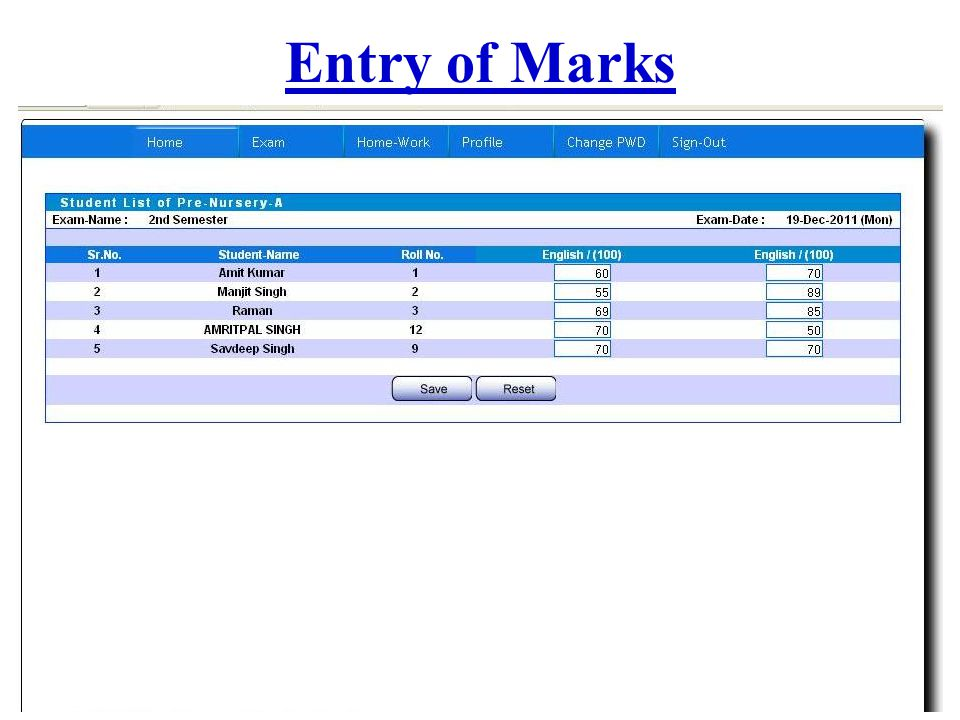Entry of Marks