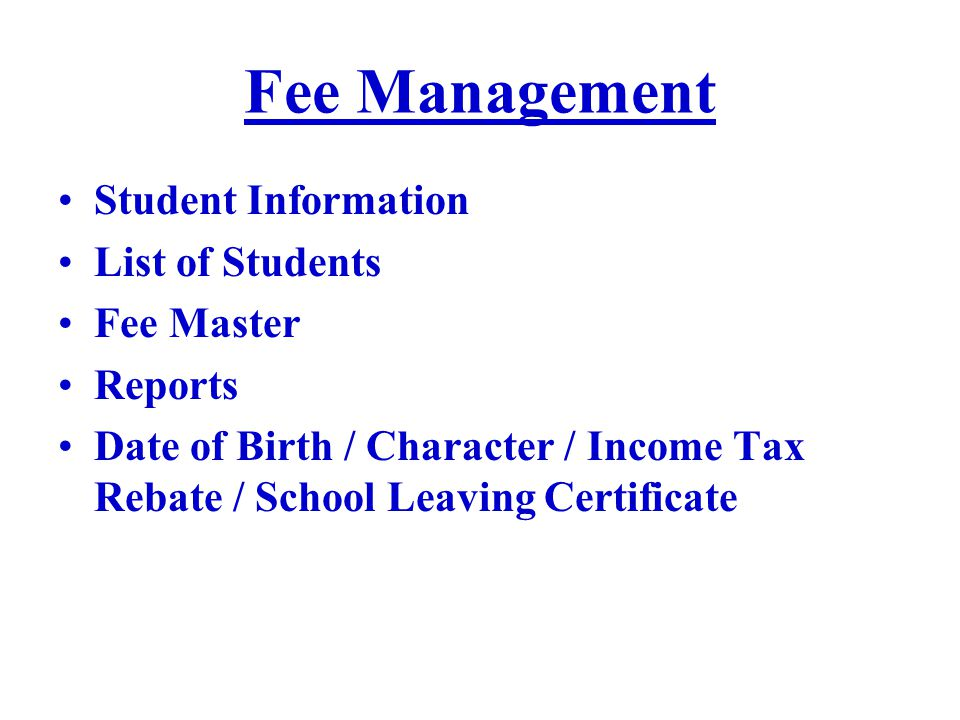 Fee Management Student Information List of Students Fee Master Reports