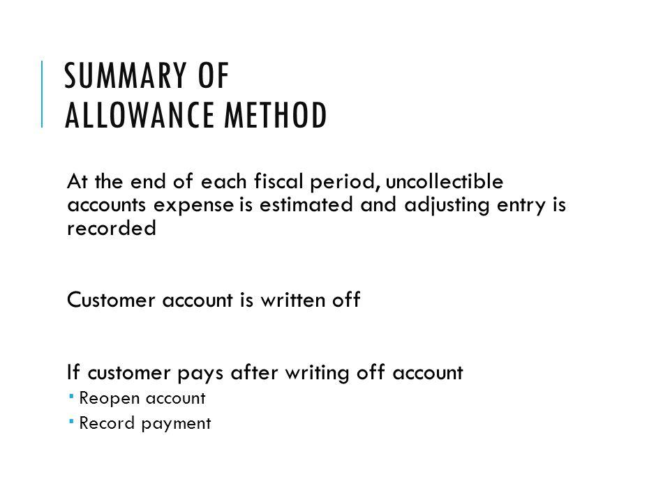 Summary of Allowance Method