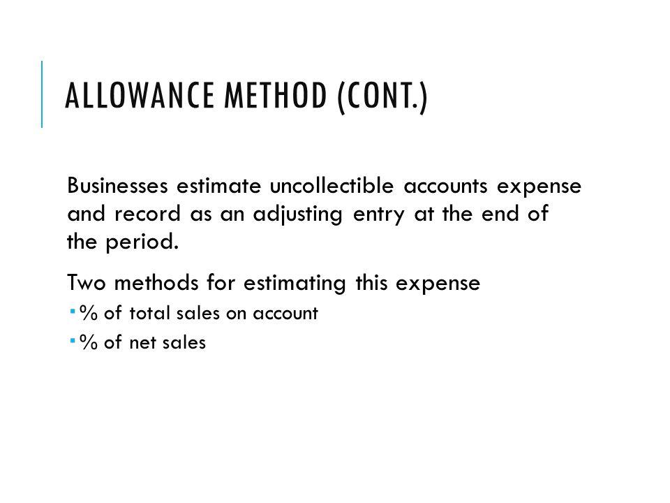 Allowance Method (cont.)