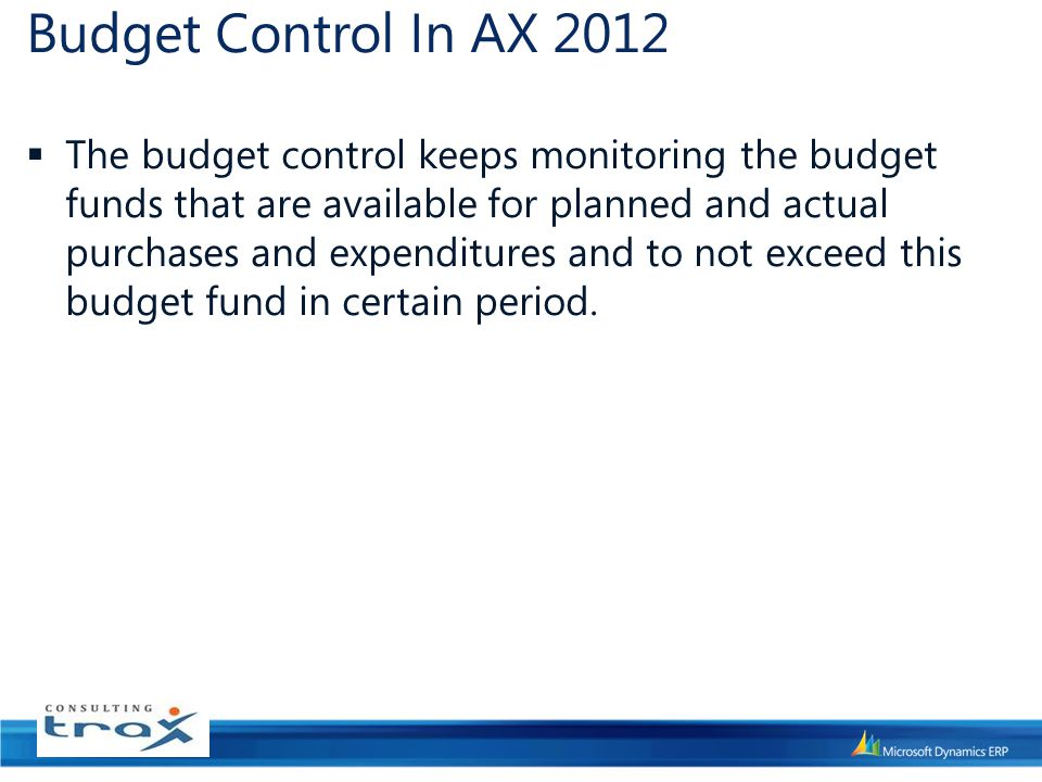 Budget Control In AX 2012