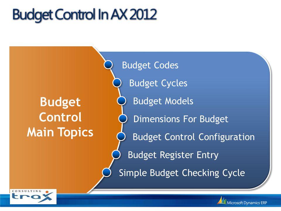 Budget Control In AX 2012 Budget Control Main Topics Budget Codes
