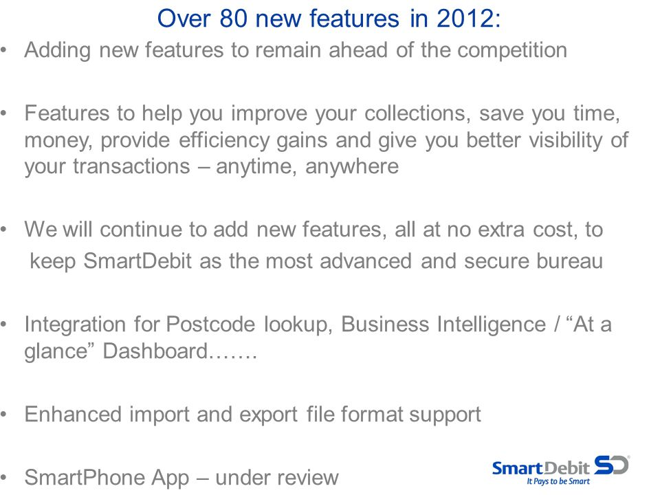 Over 80 new features in 2012: Adding new features to remain ahead of the competition.